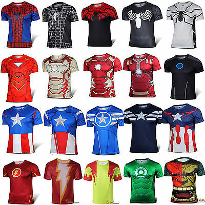 Mens Marvel Short Sleeve T-Shirt Compression Gym Running Fitness Jersey Tops Tee