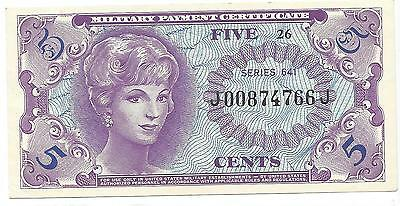 MPC Series 641  5 cents 1st printing A.UNC