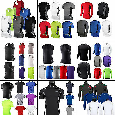 Mens Compression Under Base Layer Shirt Top Sports GYM Workout Athletic Apparel