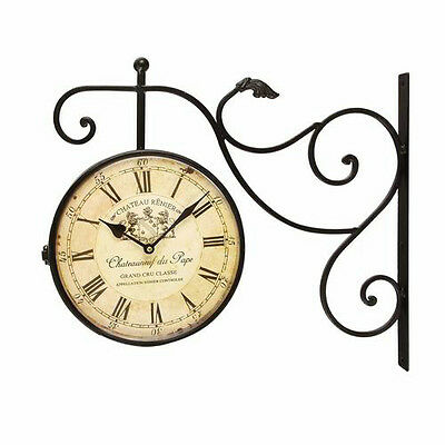 Adeco Black Iron Vintage-Inspired Double-Sided Wall Clock With Scroll Wall Mount