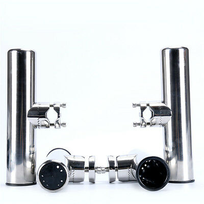 """4PCS Fishing Rod Holder for Rails 7/8"""" to 1"""" Stainless Clamp On Rail Mount AM"""