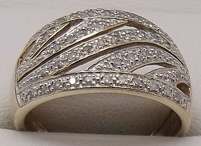 Solid 9Ct Yellow Gold 44 X Natural Diamond Dress Ring