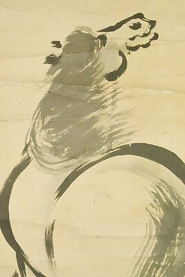 Hanging Scroll Japanese Painting Horse Pine Japan Antique Picture Old Art b424