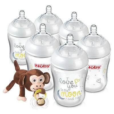 Nuby Natural Touch 270ml Bottles with Snoozie - 6 Pack