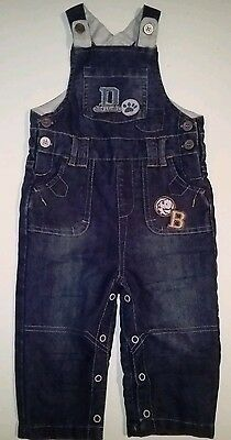Boys Size 0 Denim Overalls Cotton Lined 9-12 months by Tu Excellent Condition