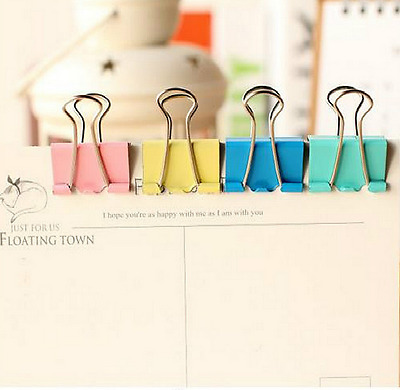 20Pcs Colorful Metal Binder Paper Clips Office Learning Office Supplies Random