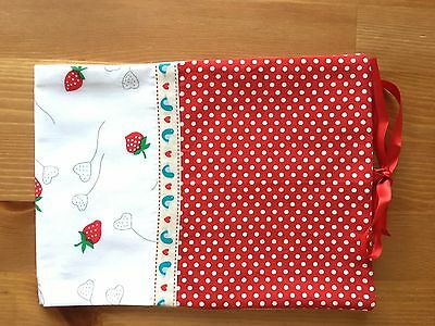 Handmade Baby Health Record Book Cover for the Red NHS Book-Strawberries