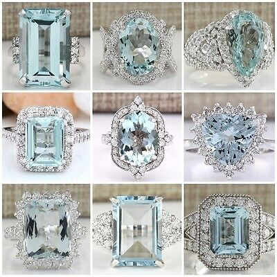 Fashion Women/Men 925 Sterling Silver Aquamarine Gem Ring Wedding Bridal Sz 6-10
