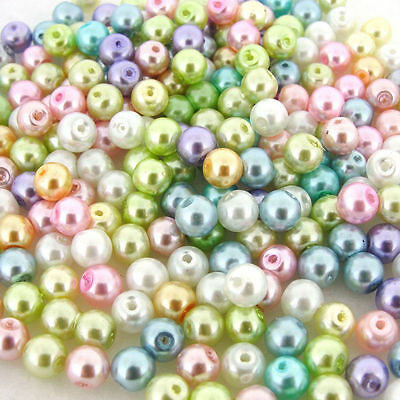 Wholesale Mixed Color Loose Assorted Round Faux Pearl Spacer Beads 4/6/8/10/12mm