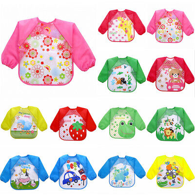 Cute Baby Toddler Waterproof Long Sleeve Child Kids Feeding Art Smock Bib Apron