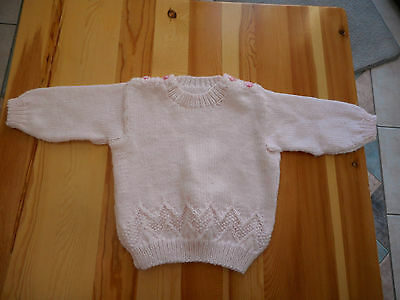 Hand made knit knitted baby toddler girl pale pink jumper long sleeve Size 1 NEW