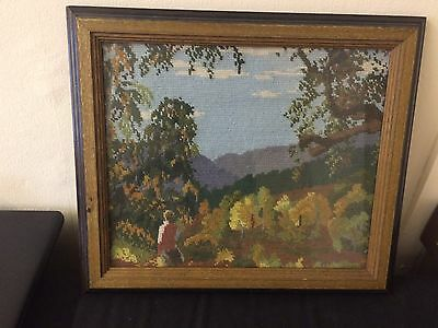 Framed Picture Made By Wool ,vintage scenery Tapestry