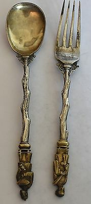 Chinese Decorative Sterling Silver Spoon Fork Set Ss
