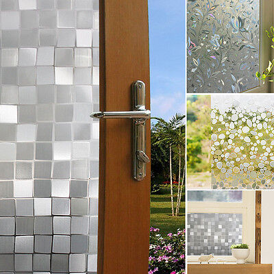 45*100CM 3D Frosted Window Film Frost Glass Home Door Privacy Sticky PVC