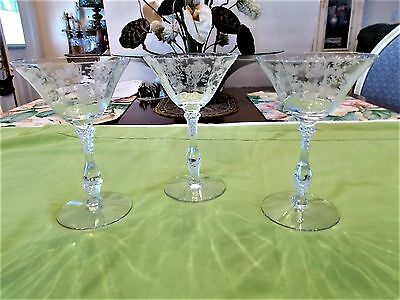 Three (3) Cambridge Rosepoint Etched Cocktail Glasses, Stem 3121