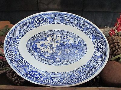 BLUE WILLOW PLATTER, ORIENTAL SCENE 11 5/8 inches  X  9 inches Excellent!