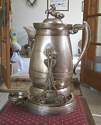 Antique, from 1880, Middletown Quad Silver Plate Pitcher with Stand