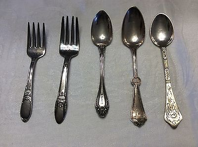 Vintage Silver Plate Mixed Lot Of Flatware Fork Spoon Engraved Child Demi N23