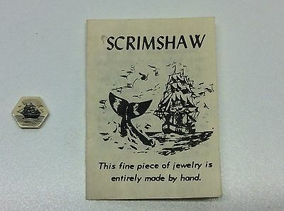Vintage Scrimshaw Jewelry Part For Pendant Craft Or Repair