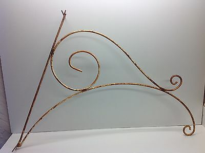 Vintage Steel Metal Scroll Sign Hanger Large Metal Wall Hanging Sign Bracket R1