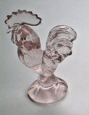 """PINK  GLASS ROOSTER   4 1/2"""" Tall  Paperweight Kitchen Figurine"""