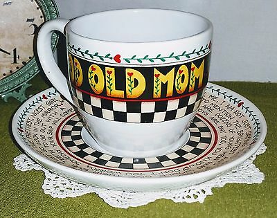 Mary Engelbreit by Andrews McMeel Tea Cup and Saucer Good Old Mom *