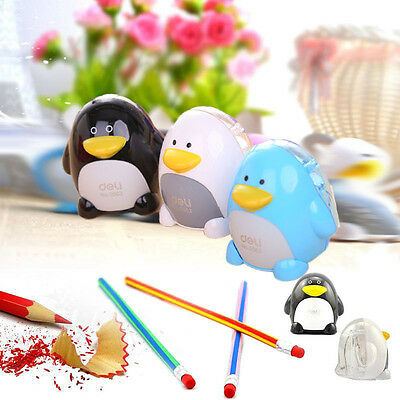 New Fashion Deli Cartoon Plastic Pencil Sharpener Penguin Holds White Pink