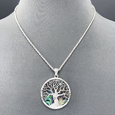 Silver Finish Mother of Pearl Tree of Life Design Circle Shape Pendant Necklace