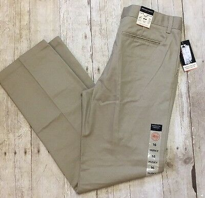 French Toast Big Boys' Flat Front Wrinkle No More Double Knee Pants 16H Husky