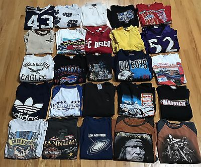 Lot Of 25 Vintage Tee T Shirts Music Sports Eagles Cowboys Jerseys Starter Bills