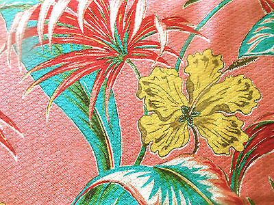 Vintage Tropical Hibiscus Floral Barkcloth Fabric ~ Pink Turquoise Yellow Red