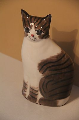 Cat N.s. Gustin Co Tabby Brown White Figurine Statue Made Usa Handpainted Look!!