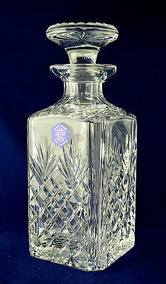 "Stuart Crystal ""HENLEY"" Square Decanter - 22.5cms (8-7/8"") tall"