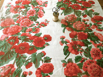 Antique Vintage Hollyhock Floral Cotton Fabric ~ Red Pink White