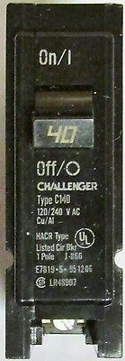 CUTLER HAMMER CHALLENGER BR140 Single Pole 40 Amp Type BR C140 Circuit Breaker