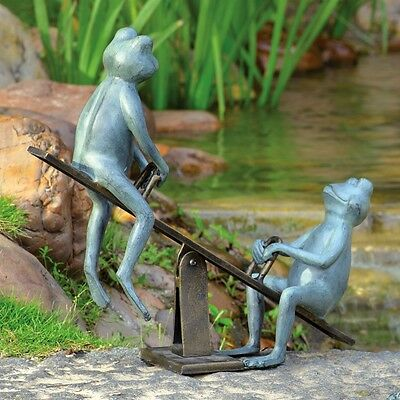 Playground Days Frog Garden Sculpture Statue Yard Pond Pool Decor,21.5''x18.5''H