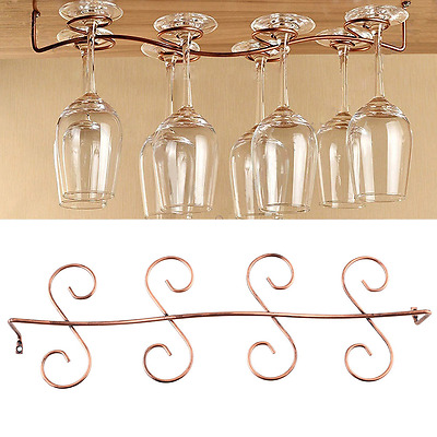 8 Wine Glass Rack Stemware Hanging Under Cabinet Holder Hanger Shelf Bar Display