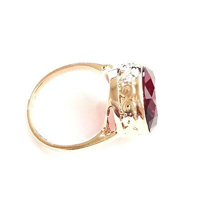 Vintage Antique 5 Ct Red Ruby Round Ring Engagement Wedding Women Gift 18K R6252