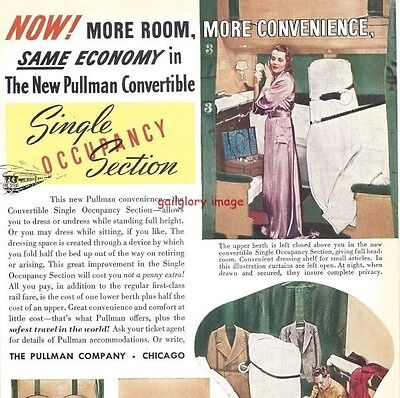 1938 Pullman Railroad Travel Vintage Print Ad More Room,  Convenience & Economy
