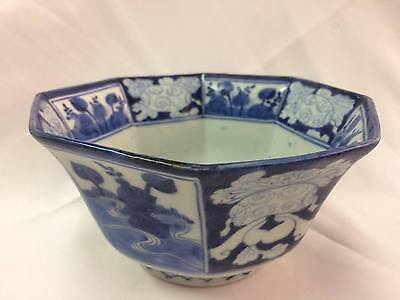 Antique Chinese Blue and White Octagonal Bowl