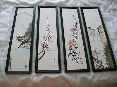 Set of 4 Hand Painted Porcelain Tile Wall Hanging Plaque SIGNED Japanese Chinese