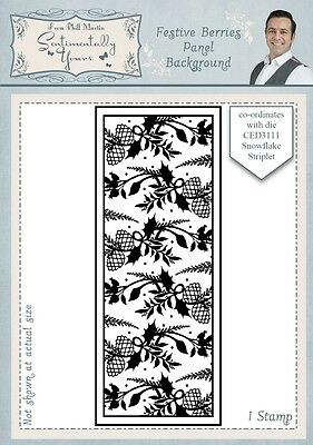 Creative Expressions Festive Berries Panel Background Rubber Stamp Phill Martin