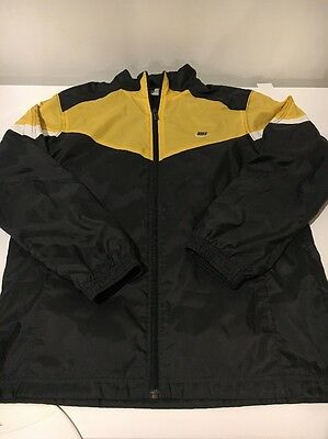 Nike Youth Size L 14/16 Full Zip Windbreaker Black Yellow Nylon