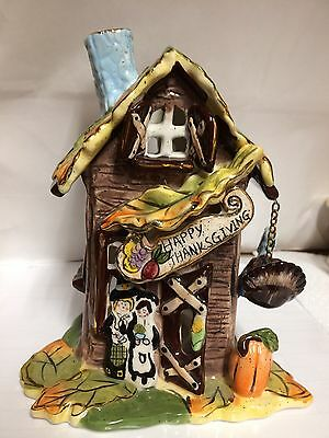 Heather Goldminc Blue Sky Clayworks Happy  Thanksgiving House Candle Holder