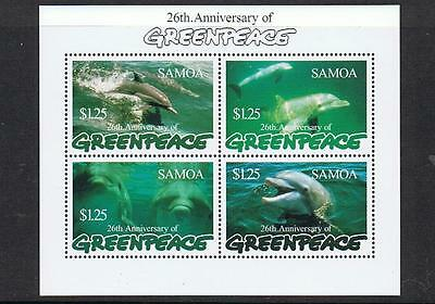 STAMPS  SAMOA 1997 MARINE LIFE GREENPEACE Ms.  Whales, Dolphins (MNH)  lot 559