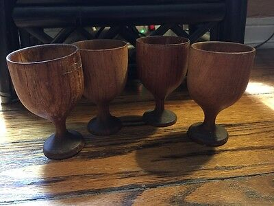 Vintage Wood Goblets Set Of 4