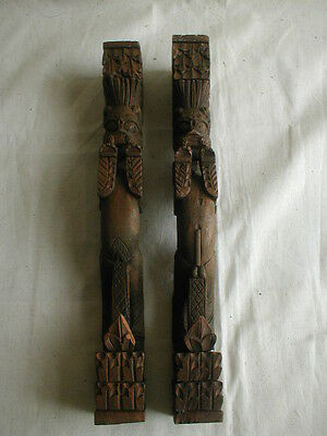 vintage carved wood pair of asian fertility deity pillar figures