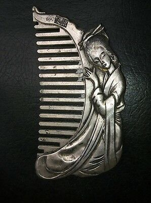 Old Vintage Silver Asian Lady Comb Signed