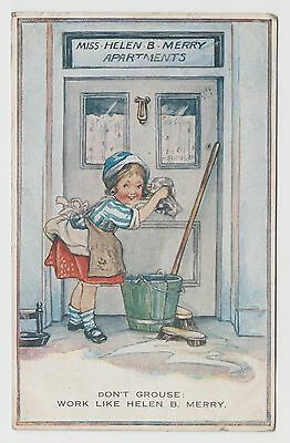 """POSTCARD - artist drawn child cleaning """"Don't grouse, work like Helen B Merry"""""""