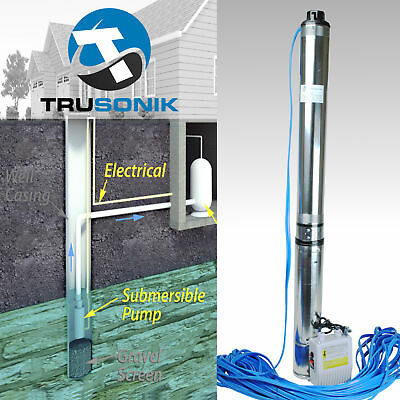 2HP Deep Well Pump 400FT 35GPM 220V Submersible Stainless Steel w/ Control Box :